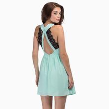 Deep dorsal V eyelash lace stitching embellishment strap back zipper sleeveless Chiffon Dress haoduoyi