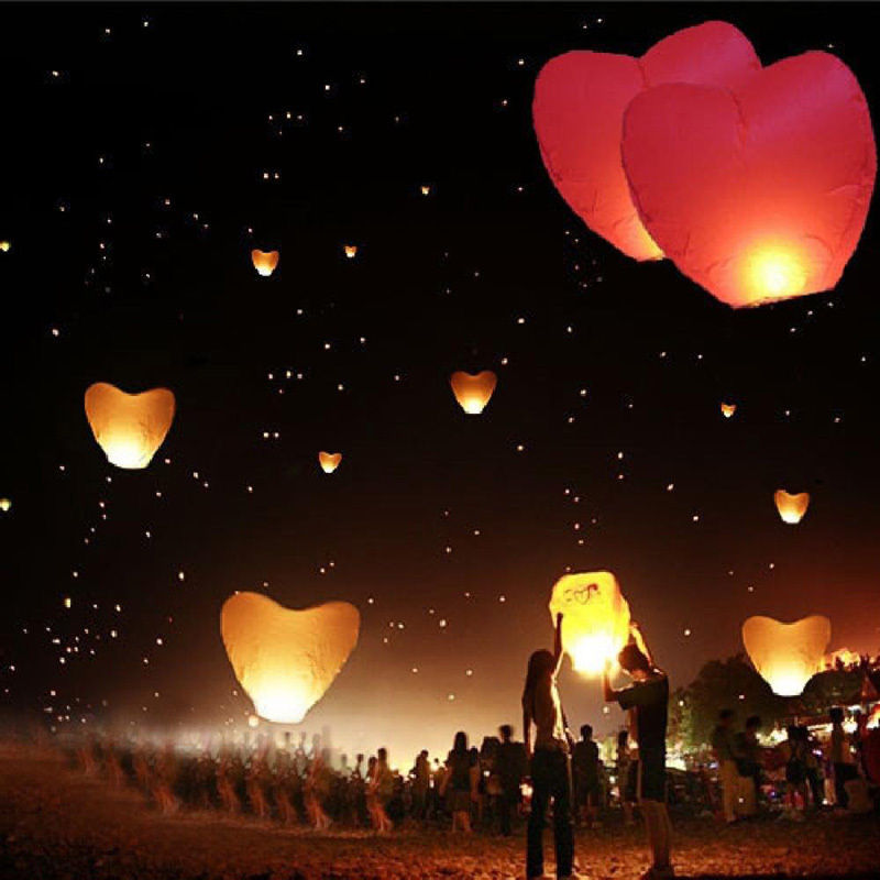 Hot Sales Fashion Heart Sky Lanterns Chinese Paper Sky Candle Fire Balloons for Wedding Anniversary Party Valentine(China (Mainland))