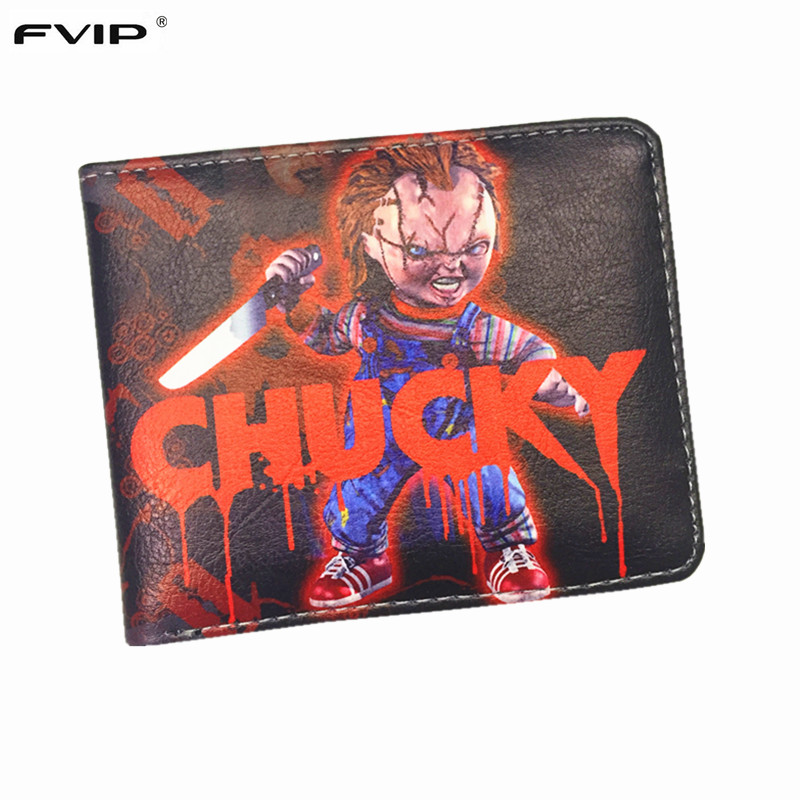 FVIP Cartoon Short Wallet Chucky /Dragon Ball / Saw /Inside Out /Thundercats Purse With Credit Card Holder Men's Wallet(China (Mainland))