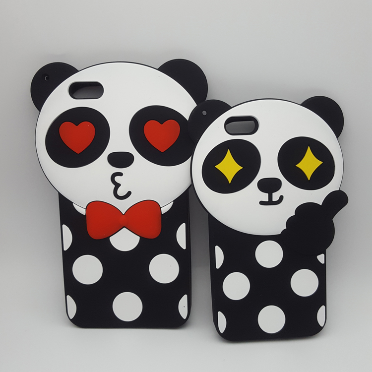 "Fashion 3D Lovely Cartoon panda Black Polka Dot Soft Silicon Case Cover For iPhone 6/6s/6s plus/4.7/5.5"" Rubber Cell Phone Cases(China (Mainland))"