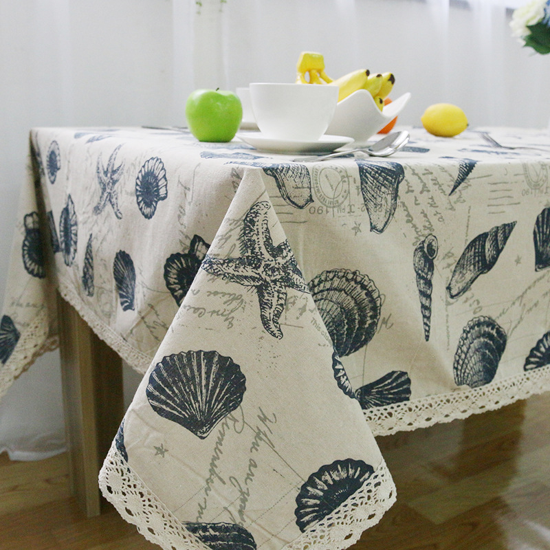 Korea Nappe Linen Cotton Fabric Lace Tablecloths Shell Table Cloth on the round table Decor Microwave Cover Manteles Tischdecke(China (Mainland))