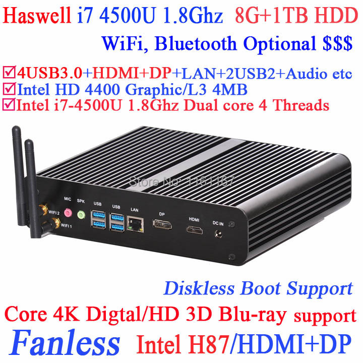 Mini-PC the best small computers pcs with haswell Intel Core i7 4500U 1.8Ghz 4 USB 3.0 HDMI DP 8G RAM 1TB HDD Windows or Linux(China (Mainland))