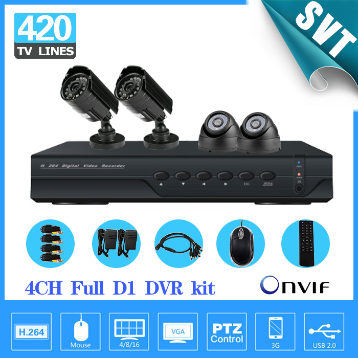 Security NVR CCTV 4ch full D1 real time recording and playback, smartphone/ internet review, free CMS, 4ch DVR kit, Day/Night IR(China (Mainland))