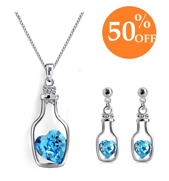 MIn. order is $10(can mix order) Fashion Austrian Jewelry Set 18K Gold Plated Flower Vase Bottle Necklace/Earrings Jewelry Set(China (Mainland))