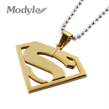 18K Gold Plated Stainless Steel Superman Letter S Pendants Fashion Necklaces for Women 2016(China (Mainland))