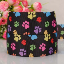 5 yard 1-1/2″ (38mm) colorful dog paw pattern black print grosgrain ribbon tape DIY handmade hairbow ribbon free shipping