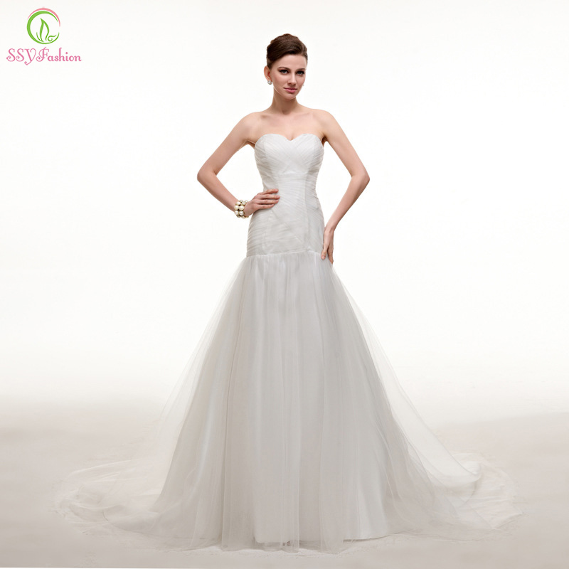 Buy vestido de noiva ssyfashion long for White fishtail wedding dress