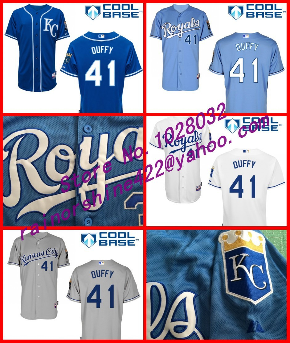 Wholesale Kansas City Royals Jersey #41 Danny Duffy Baseball Jerseys White Blue Gray Cool Base,S~3XL,TOP Quality(China (Mainland))