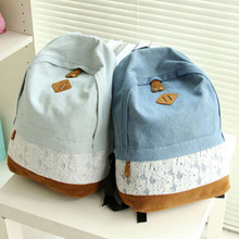 Women Fresh Denim Lace Backpack Girls Teenager School Bags Ladies Casual Travel Canvas Backpack Free Shipping(China (Mainland))