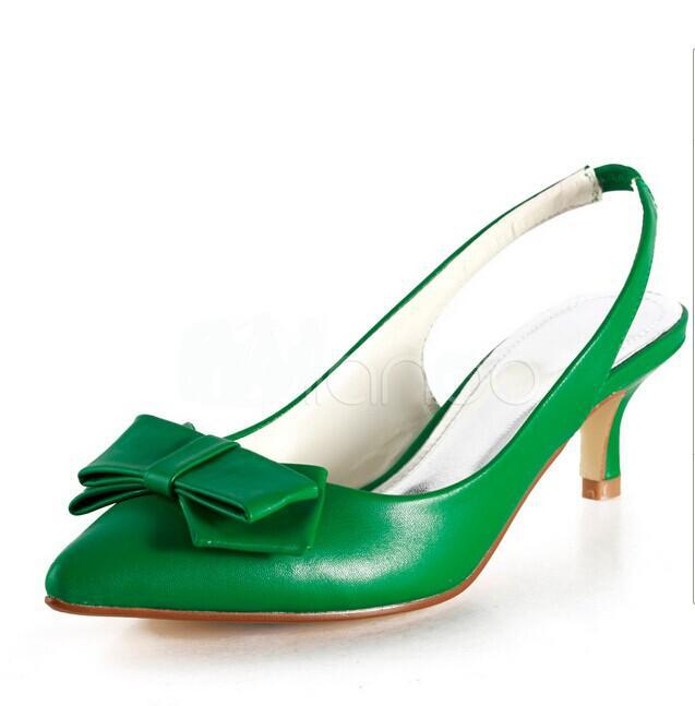 Free shipping newest and sexy green / white leather womens heels pointed shoes party shoes / dress pumps<br><br>Aliexpress