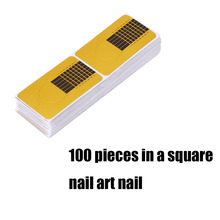 High Quality 100 pcs Square Golden Nail Form Stickers Gel Tip Extension Nail Tools Nail Paper Holder Beauty Accessories(Hong Kong)