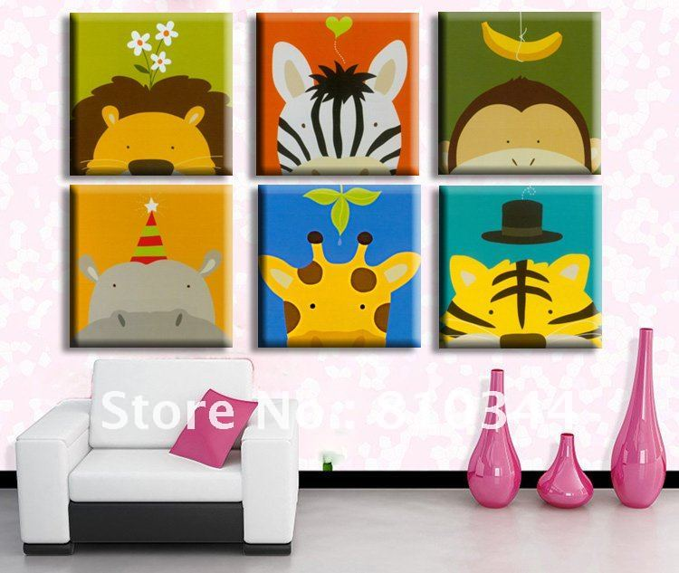 Buy free shipping cartoon design hot for Canvas painting for kids room