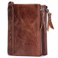 100 Genuine Crazy Horse Cowhide Leather Men Wallet Short Card Holder Luxury Designer Clutch Coin Purse