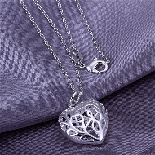 5stering silver plated pendant necklace WITHOUT CHAIN 925 stamped Heart charm women P010 - Tracy Jewelry store