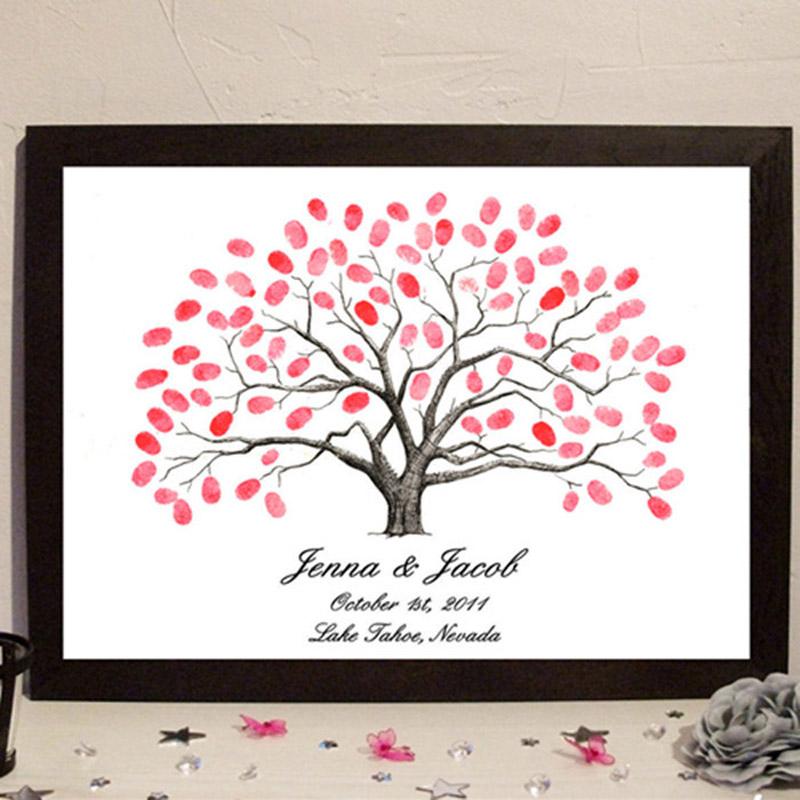 2016 New company Alumni Wedding Fingerprint Tree Signature Tree DIY Customized Weddding Supplies Accessory with inkpad(China (Mainland))