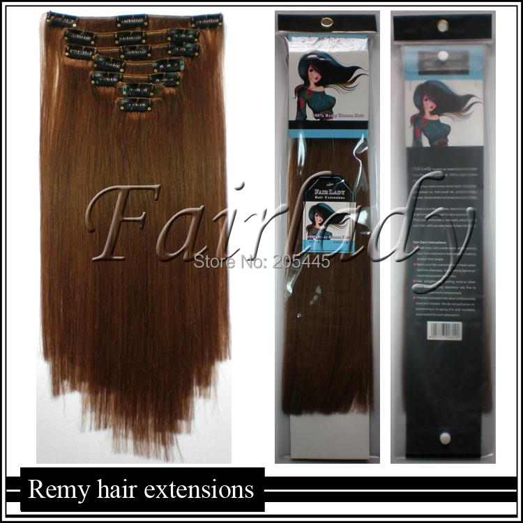 220gg 140cm 45cm 50cm 55cm 60cm 65cm Indian Virgin Clip IN REMY Human Hair Extensions #10 Golden Brown Full Head - Junlong Products CO,.LTD store