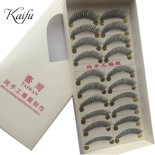 Makeup handmade knitted natural dense false eyelashes Fake Eyelash  e-7 10pair/set -free shiping