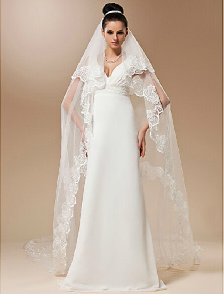 2014 new white lace long wedding dress bridal veils for Long veil wedding dresses