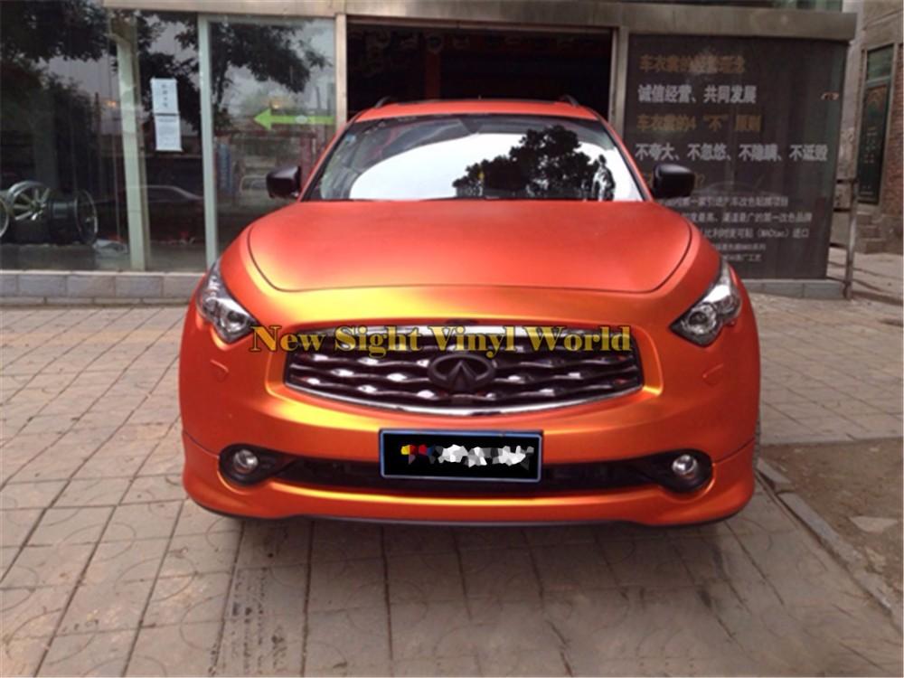 High Quality Matte Satin Chrome Orange Vinyl Wrap Orange Satin Chrome Wrap Film Air Free Car Graphics Size:1.52*20M/Roll