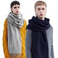Brand Winter Fashion Solid Scarf Wool Blend Shawls Unisex Scarves With Tassels Warm Handkerchief Soft Luxury