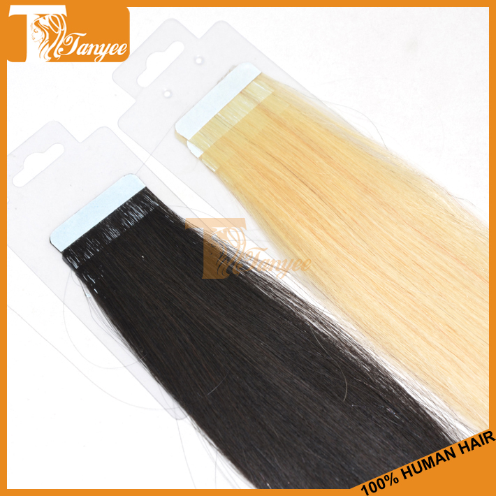 "6# Human Tape Hair Extensions 20"" 7A High Quality Brazilian Straight Medium Brown Red Blue Pink 613 20pcs Pu Skin Weft Remy Hair(China (Mainland))"