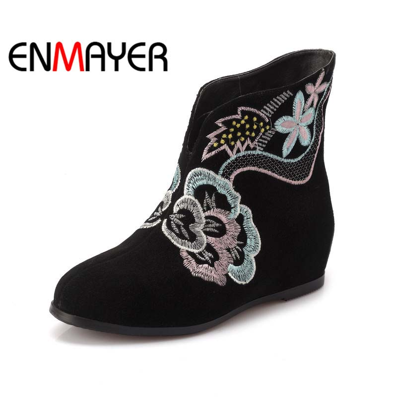 ENMAYER Retro ethnic  Flats Shoes New Round Toe Winter Mixed Colors motorcycle boots Sheepskin Ankle black Big Size  Snow Boots<br><br>Aliexpress