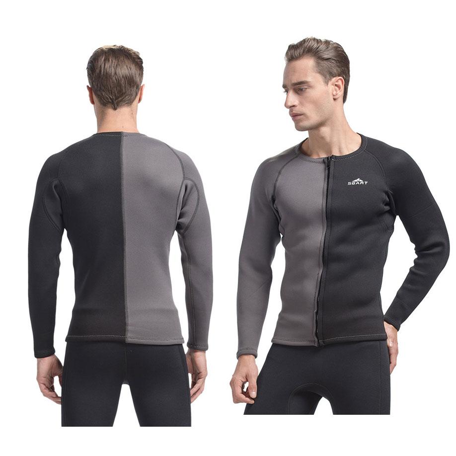 3mm Neprene Wetsuit Front Zipper Jacket Contrast Black Grey Color Men's Long Sleeve Top Swimwear Spring Surfing Suit - SWEE Shop store