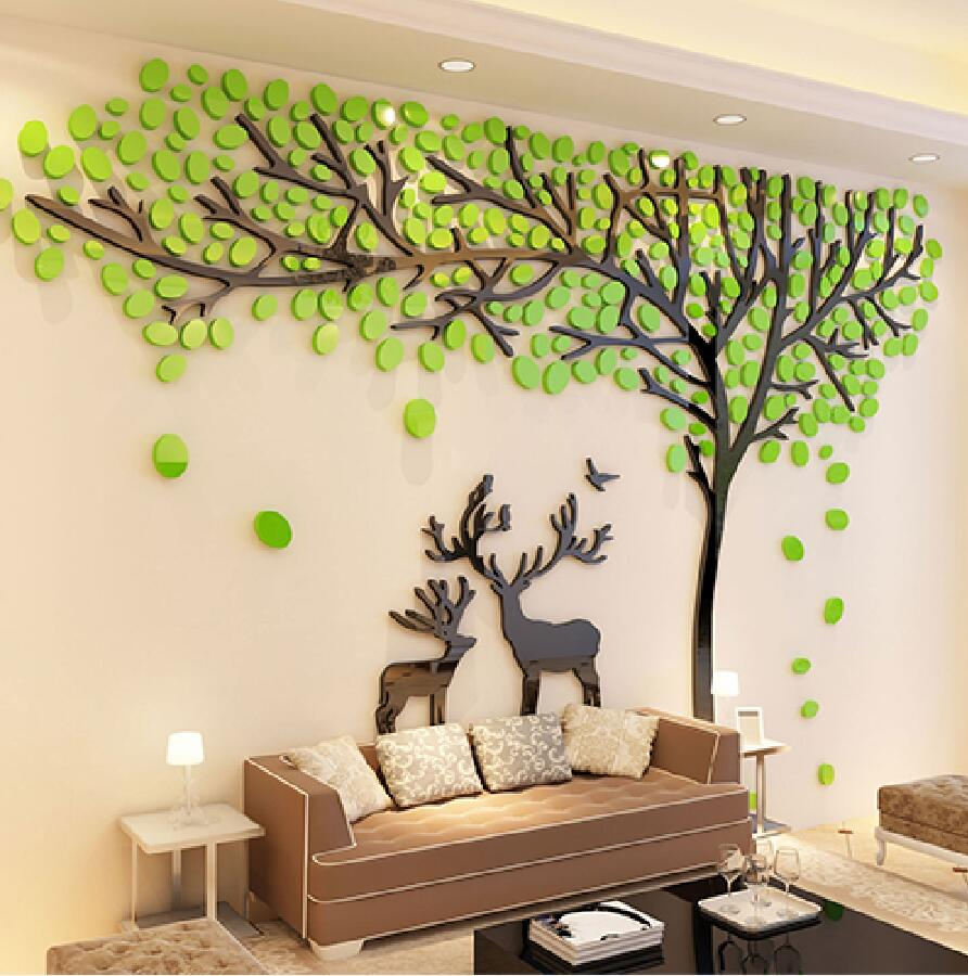 2017 Elk Trees 3D Stereo Wall Stickers Living Room Sofa TV Background Crystal Wall Stickers Room Wall Decorations Christmas gift(China (Mainland))