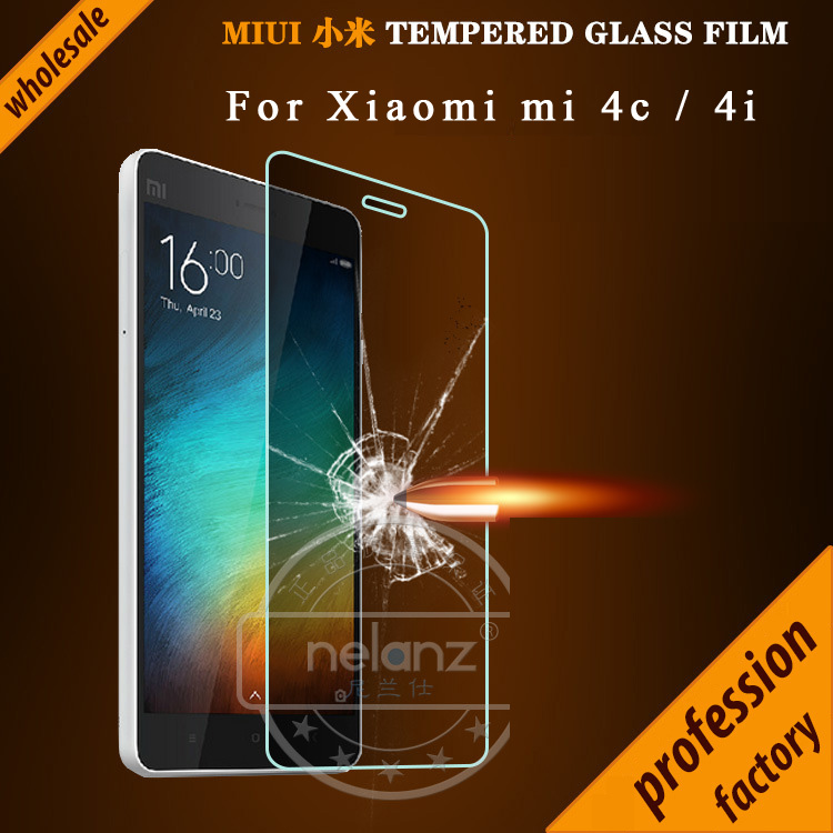 Wholesale For Xiaomi Mi 4c 4i Tempered Glass Screen Protector Film For xiaomi Mi4c mi4i mix9 2.5D round edge 9H Free Shipping(China (Mainland))