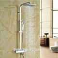 Modern 12 Inch Thermostatic LED Color Shower Faucet Mixer Tap Chrome Polish Wall Mounted