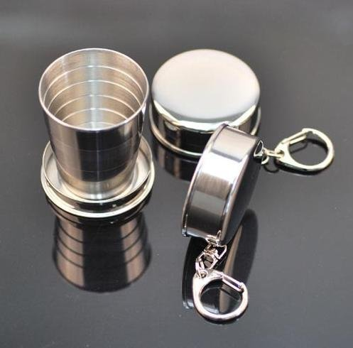 Free shipping+20 pieces Stainless steel portable outdoor mini folding cup / travel telescopic cup / glass / cup / 6 cup