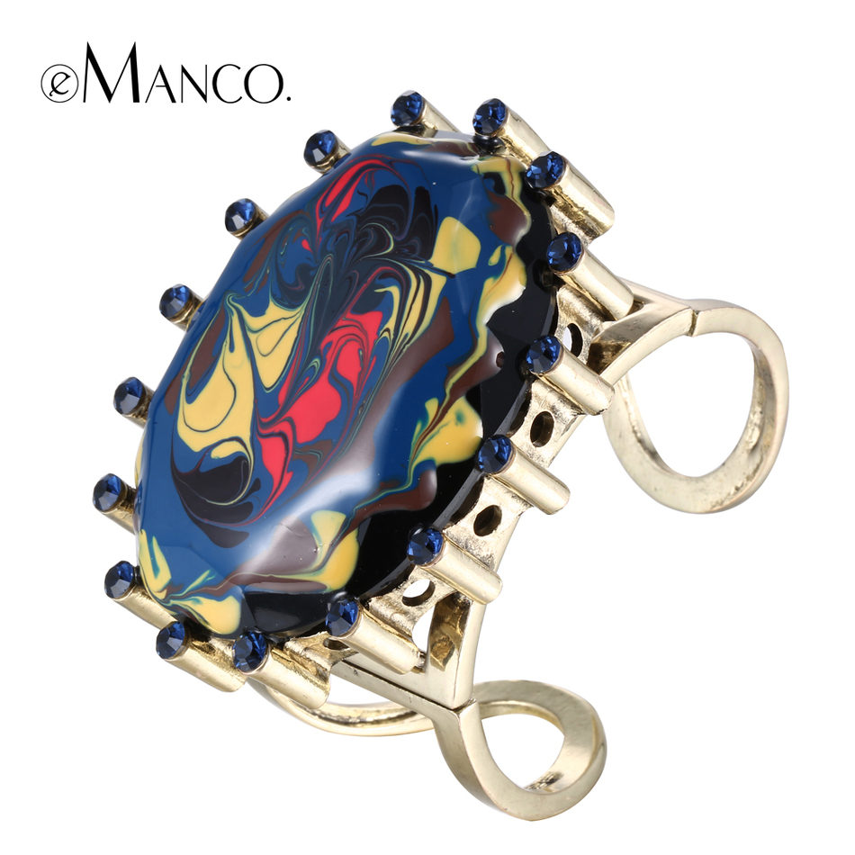 eManco metal cuff bangles enamel rhinestone alloy opening wide bangle bracelet hand painted oval resin gold plated hand jewelry(China (Mainland))