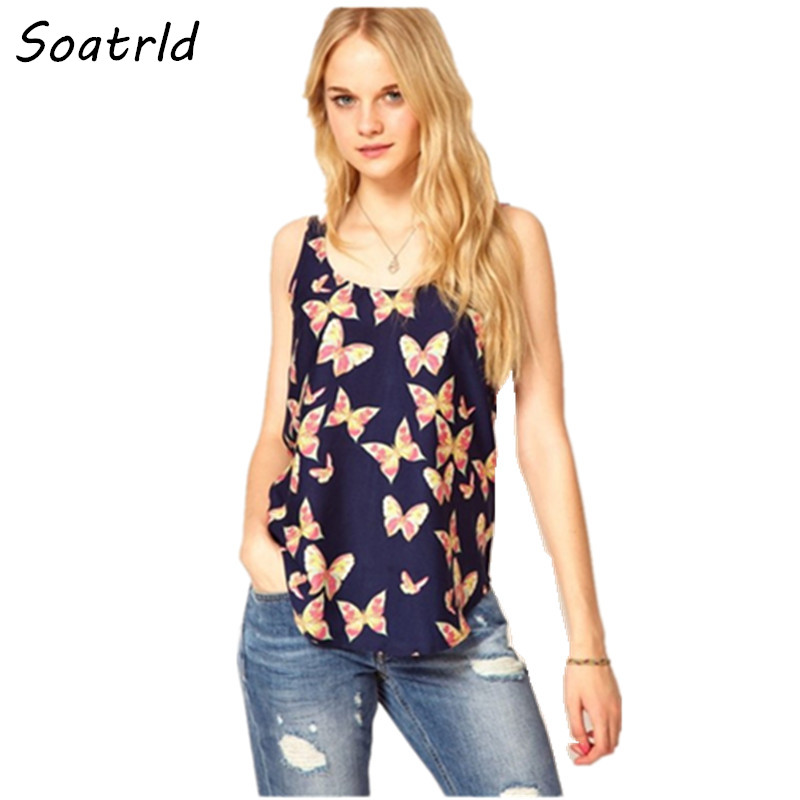 Crop Top Fashion Women Chiffon Blouse Butterfly Print Shirts Loose Sleeveless Casual Femininas Plus Size blusas Tops - FOKS .,LTD store