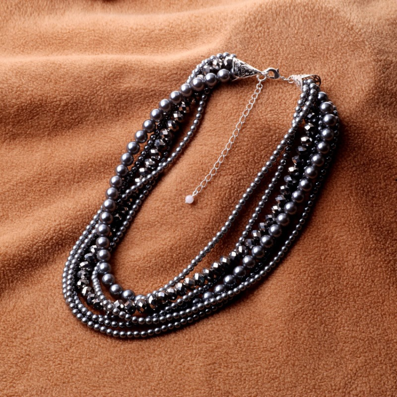 2016 New Women Imitation Pearl Necklace Crystal Grey Pearl Bead Golden Statement Collar Choker Necklace For Women Dress Collier(China (Mainland))