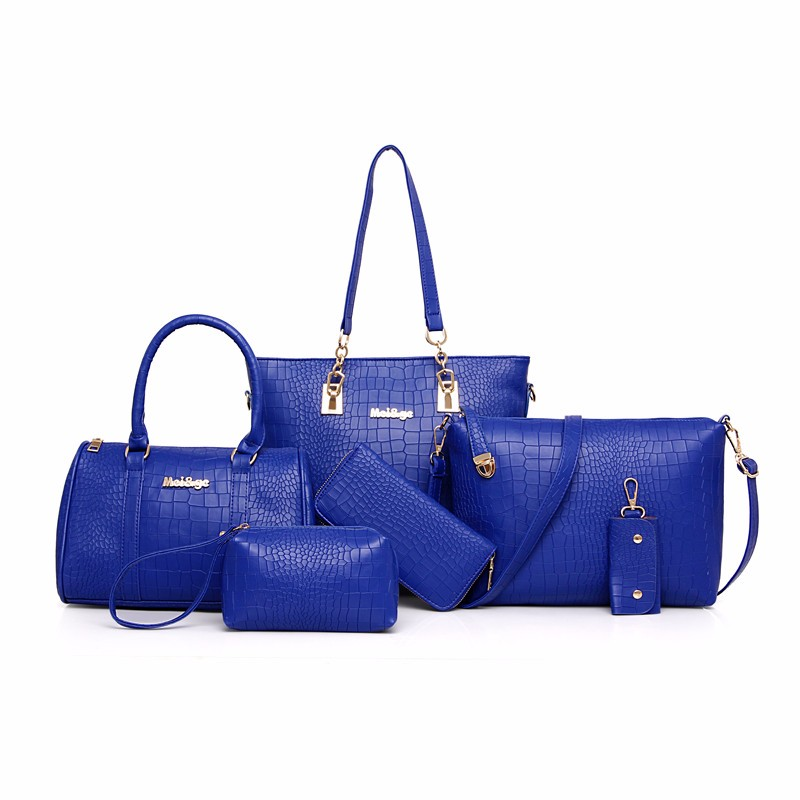 Women Bag 6pcs/Sets Fashion Handbag Set Luxury PU Leather Ladies Shoulder Bags Crossbody Bag Tote Clutch N220