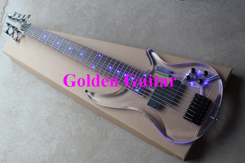Limited Edition Clear Acrylic Glass Electric Guitar 7 Strings Bass Guitar Rosewood Fretboard With lightBlack Hardware(China (Mainland))