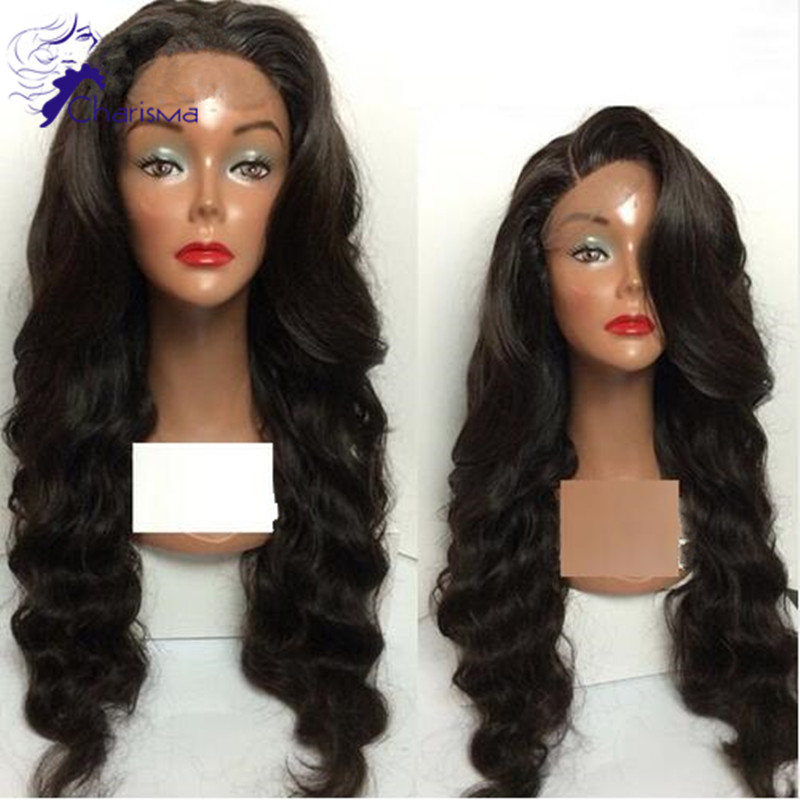 Body Wave Full Lace Wigs 180 Density Peruvian Silk Top 4*4 Glueless Lace Front Human Hair Wigs Wavy Virgin Hair For Black Women(China (Mainland))