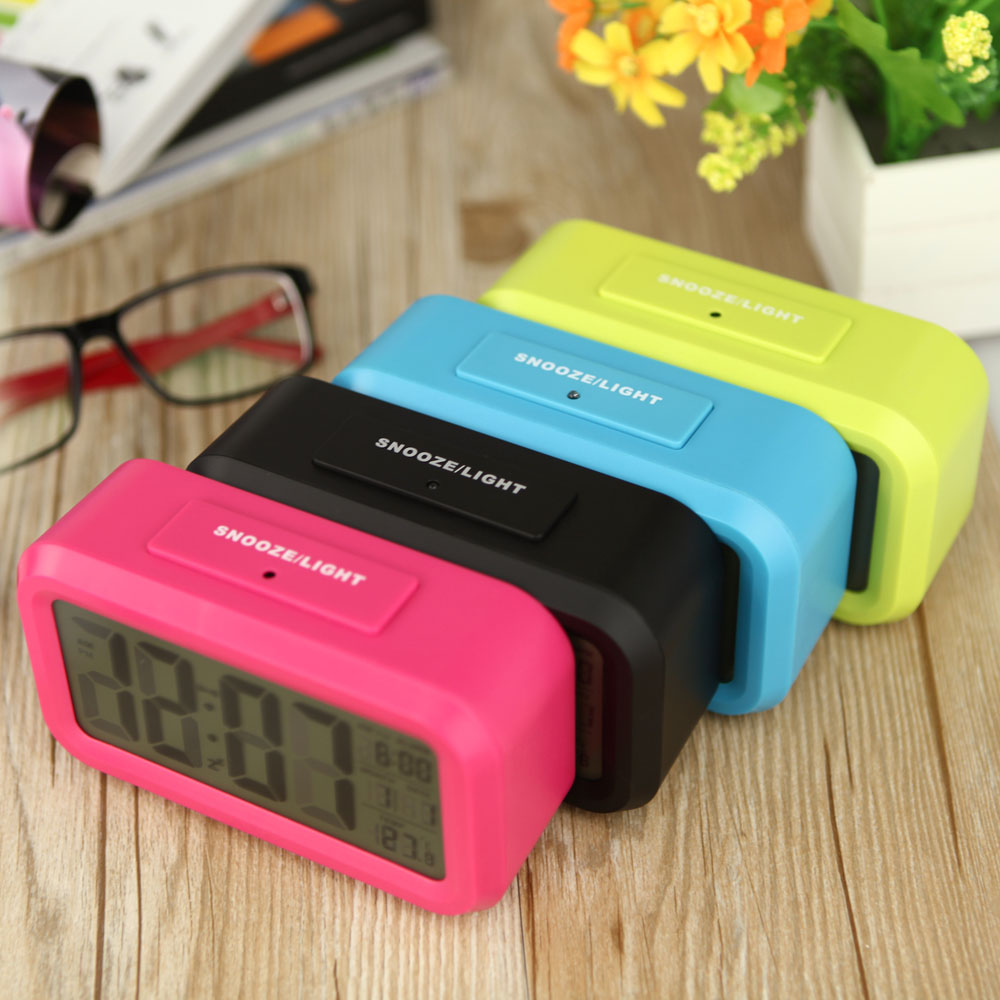Digital Backlight Time Date Temperature Display Red Green Blue Black LED Alarm Clock Repeating Snooze Light-activated Sensor(China (Mainland))