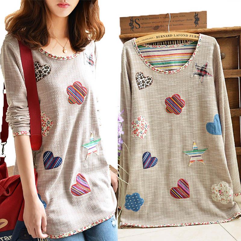Spring Autumn 2015 Plus Size Long Sleeve Cotton Blouse Women Casual Loose Tops Woman Cute Pattern Shirt Female Blusas 4XL 3XL(China (Mainland))