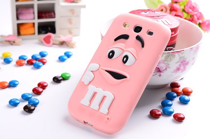 Cute Cartoon M&M's Chocolate Silicone Case Cover for Samsung Galaxy S3 I9301 Neo S3 Duos GT-I9300i S3 I9300 S III Christmas Gift