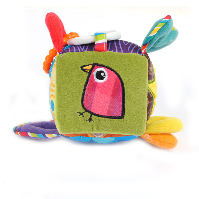 Early Educational Mobile Baby Toy Bird Square Plush Block Clutch Cube Rattles Baby Toys 0-12 Months -- BYC006 PT10