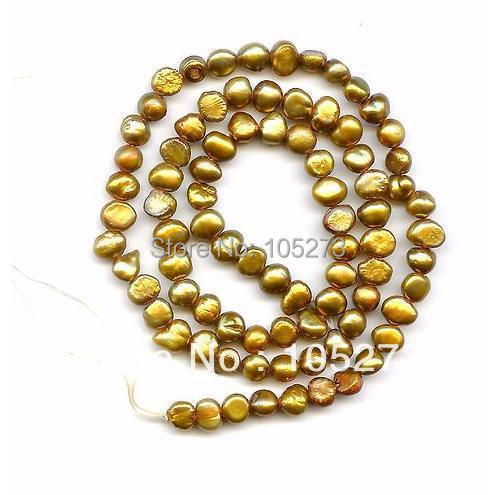 Здесь можно купить  New Free Shipping Natural Pearl Jewelry Gold Brown Color Genuine Freshwater Pearl Loose Beads 5-6mm 15