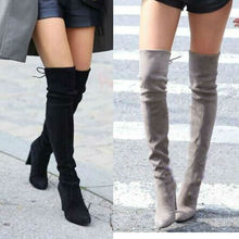 Women Stretch Faux Suede Slim Thigh High Boots Sexy Fashion Over the Knee Boots High Heels Woman Shoes Black Gray Winered(China (Mainland))