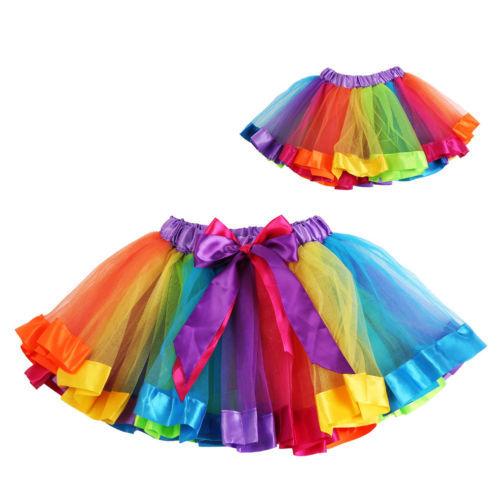 Girls Kids Petticoat Rainbow Pettiskirt Bowknot Skirt Tutu Skirt Dancewear 0-8Y<br><br>Aliexpress