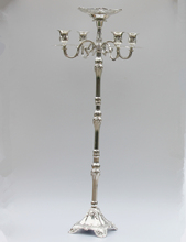 Top rated silver plated floor candelabra 83cm metal candle holder, pure silver candleholder with nice flower bowl(China (Mainland))
