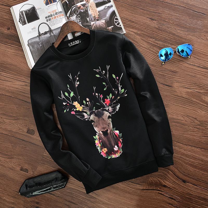 2016 sets men round collar fleece Black and white snow render deer head spring tide long sleeve(China (Mainland))