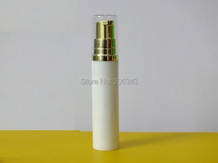 10MLwhite airless bottle lotion gold pump transparent lid comsmetic packing - world -cosmetic and medicine store
