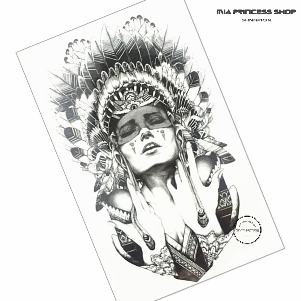 indian warrior temporary tattoo body art flash tattoo