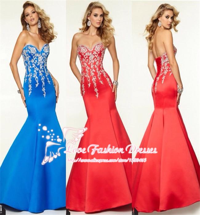 2015 Long Mermaid Royal Blue Red Evening Dress Gown Elegant Formal Lace Appliques Vestidos de Noive - Love Fashion Dresses store