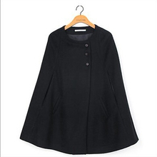 2015 New Women Winter Warm Casual Loose Cape Batwing Wool Poncho Jacket Cloak Coat H0876(China (Mainland))